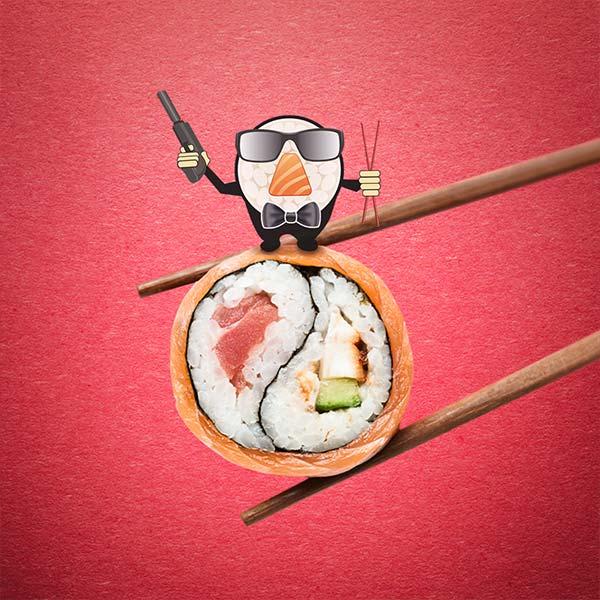 Логотип суши-бара Ролл 007